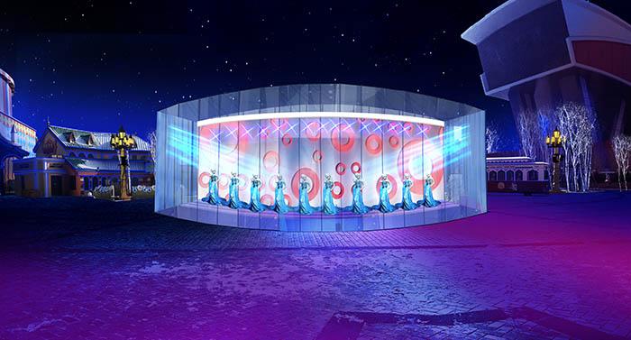 舞美设计图:剧场内 在剧组中有两个姓邵的同事,女孩叫邵青,男的叫